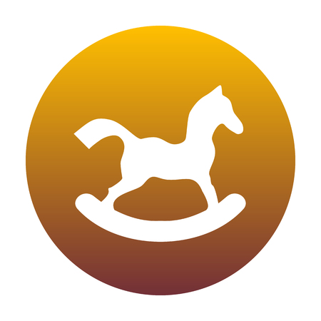 Horse toy sign. White icon in circle with golden gradient as background. Isolated. Illustration