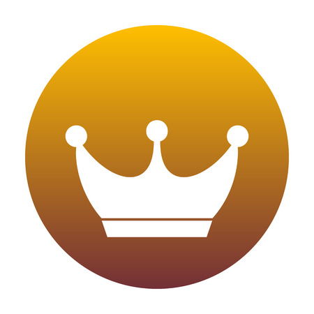 King crown sign. White icon in circle with golden gradient as background. Isolated.