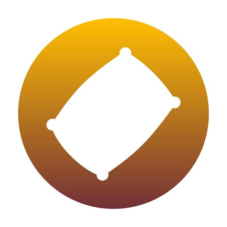 spongy: Pillow sign illustration. White icon in circle with golden gradient as background. Isolated. Illustration