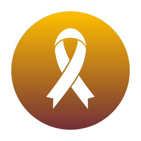 substance abuse awareness: Black awareness ribbon sign. White icon in circle with golden gradient as background. Isolated. Illustration