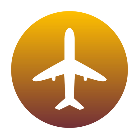 Airplane sign illustration. White icon in circle with golden gradient as background. Isolated.