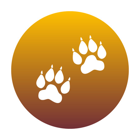 Animal Tracks sign. White icon in circle with golden gradient as background. Isolated.
