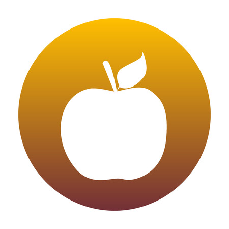 golden apple: Apple sign illustration. White icon in circle with golden gradient as background. Isolated.