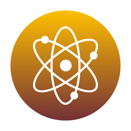 Atom sign illustration. White icon in circle with golden gradient as background. Isolated.