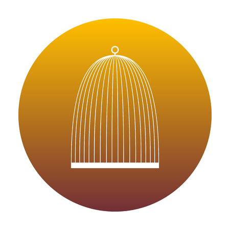 Bird cage sign. White icon in circle with golden gradient as background. Isolated. Illustration