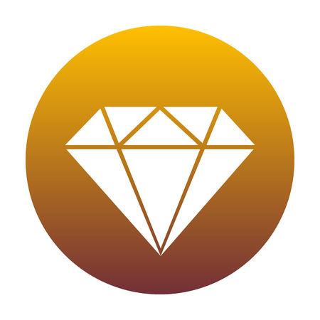 Diamond sign illustration. White icon in circle with golden gradient as background. Isolated. Illustration