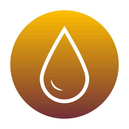 Drop of water sign. White icon in circle with golden gradient as background. Isolated.
