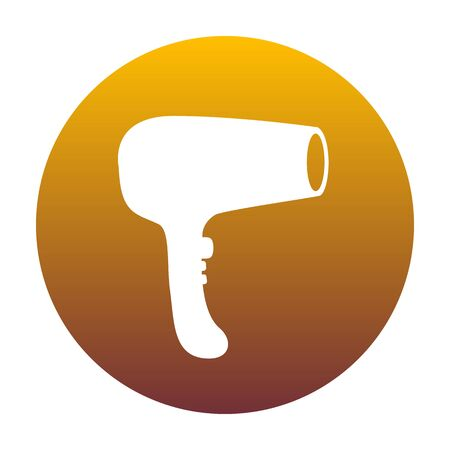 Hair Dryer sign. White icon in circle with golden gradient as background. Isolated.
