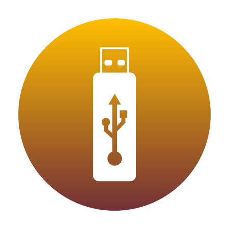 Vector USB flash drive sign. White icon in circle with golden gradient as background. Isolated.