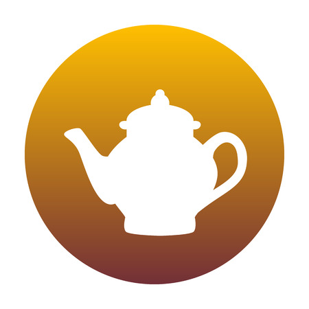 Tea maker sign. White icon in circle with golden gradient as background. Isolated.