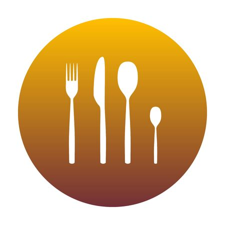 Fork spoon and knife sign. White icon in circle with golden gradient as background. Isolated.
