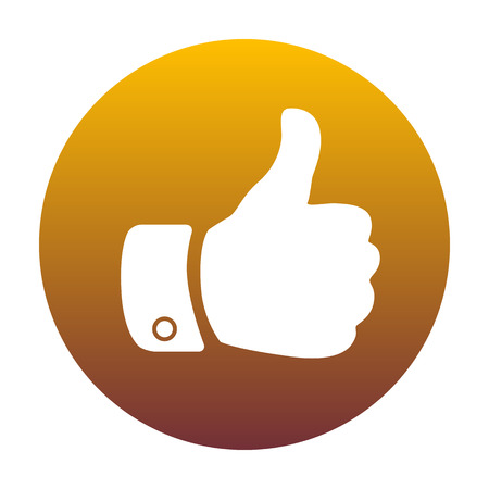 Hand sign illustration. White icon in circle with golden gradient as background. Isolated.
