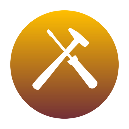 Tools sign illustration. White icon in circle with golden gradient as background. Isolated. Illustration