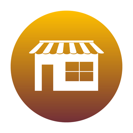 Store sign illustration. White icon in circle with golden gradient as background. Isolated.
