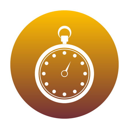 Stopwatch sign illustration. White icon in circle with golden gradient as background. Isolated. Illustration