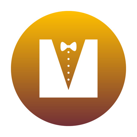 Tuxedo with bow silhouette. White icon in circle with golden gradient as background. Isolated.