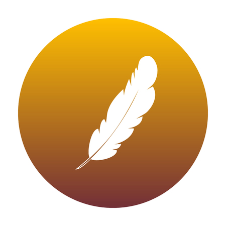 Feather sign illustration. White icon in circle with golden gradient as background. Isolated. Illustration