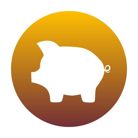 signo de pesos: Cerdo signo banco de dinero. El icono blanco en círculo con gradiente de oro como fondo. Aislado.