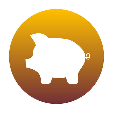 moneyed: Pig money bank sign. White icon in circle with golden gradient as background. Isolated.