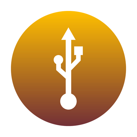 USB sign illustration. White icon in circle with golden gradient as background. Isolated.