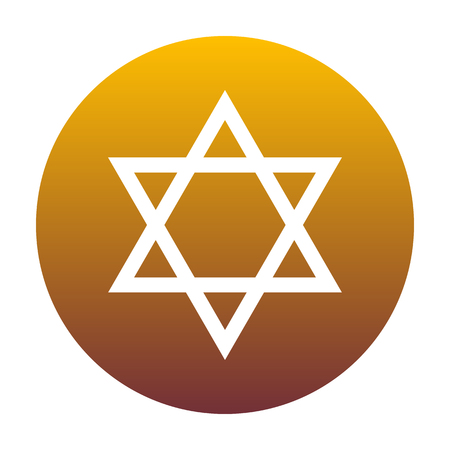 magen: Shield Magen David Star. Symbol of Israel. White icon in circle with golden gradient as background. Isolated.