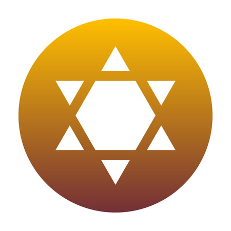 hannukah: Shield Magen David Star Inverse. Symbol of Israel inverted. White icon in circle with golden gradient as background. Isolated.