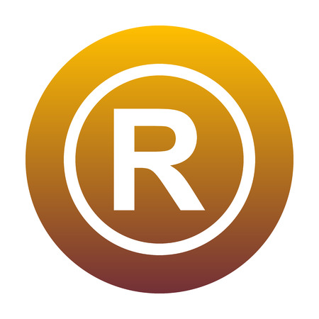 Registered Trademark sign. White icon in circle with golden gradient as background. Isolated.