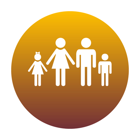 familiar: Family sign illustration. White icon in circle with golden gradient as background. Isolated.