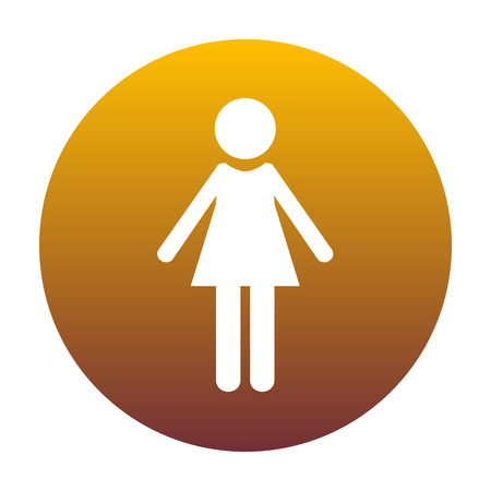 familiar: Woman sign illustration. White icon in circle with golden gradient as background. Isolated.