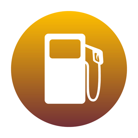 Gas pump sign. White icon in circle with golden gradient as background. Isolated. Illustration