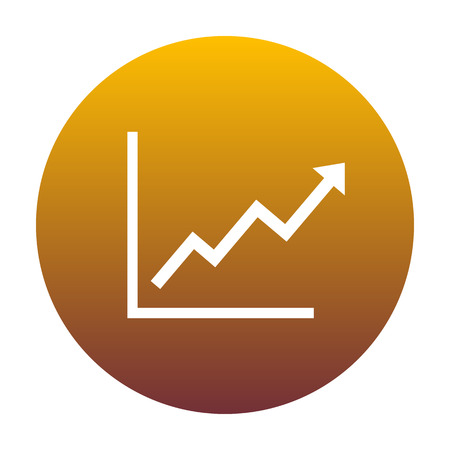 escalate: Growing bars graphic sign. White icon in circle with golden gradient as background. Isolated. Illustration