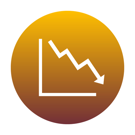 exchange loss: Arrow pointing downwards showing crisis. White icon in circle with golden gradient as background. Isolated.