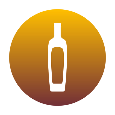 Olive oil bottle sign. White icon in circle with golden gradient as background. Isolated.