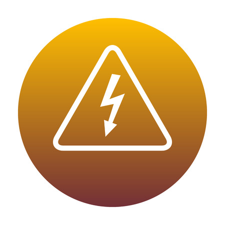 volte: High voltage danger sign. White icon in circle with golden gradient as background. Isolated.