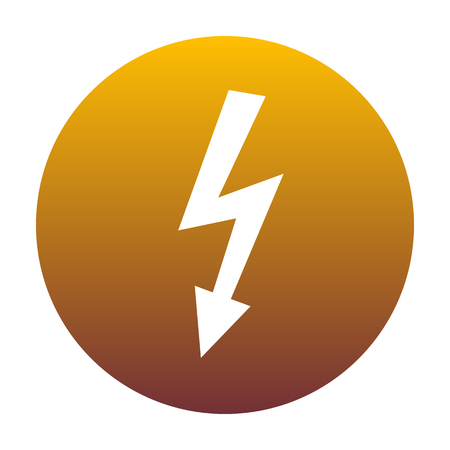 High voltage danger sign. White icon in circle with golden gradient as background. Isolated.