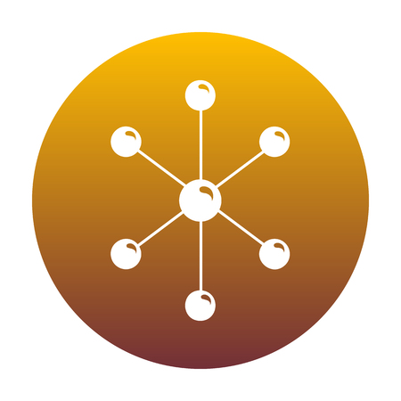 Molecule sign illustration. White icon in circle with golden gradient as background. Isolated. Illustration