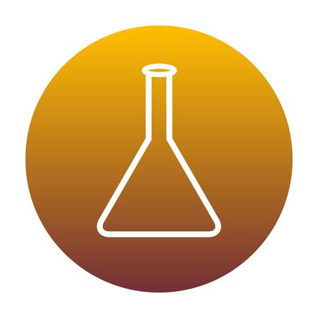 Signo de frasco cónico. Icono blanco en círculo con gradiente de oro como fondo. Aislado. Vectores