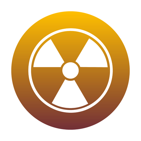 Radiation Round sign. White icon in circle with golden gradient as background. Isolated.