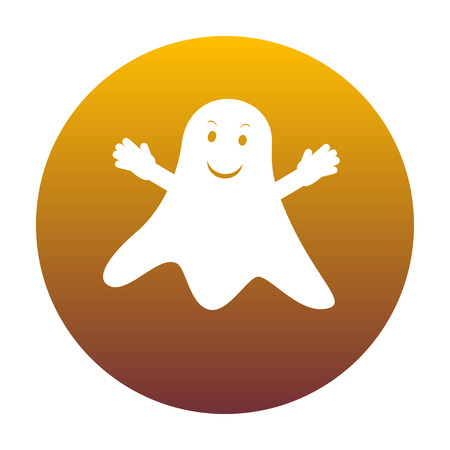 Ghost isolated sign. White icon in circle with golden gradient as background. Isolated.