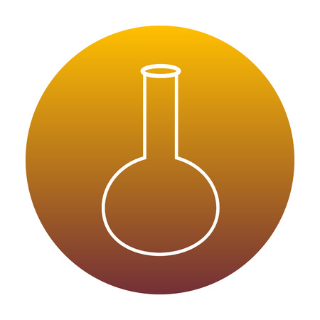 hypothesis: Tube. Laboratory glass sign. White icon in circle with golden gradient as background. Isolated. Illustration