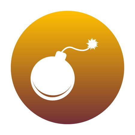 Bomb sign illustration. White icon in circle with golden gradient as background. Isolated. Illustration