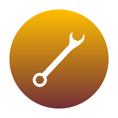 Crossed wrenches sign. White icon in circle with golden gradient as background. Isolated.