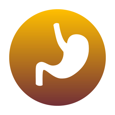 Human anatomy Stomach. White icon in circle with golden gradient as background. Isolated.