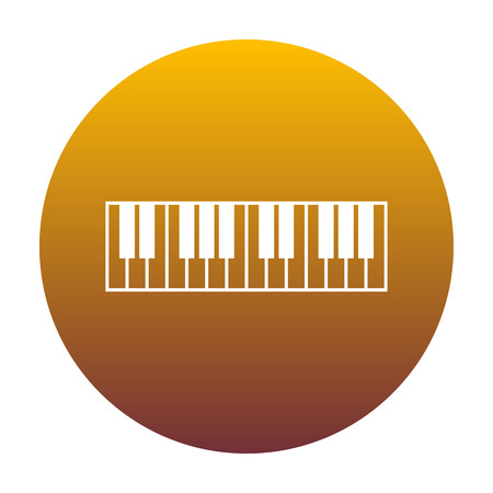 Piano Keyboard sign. White icon in circle with golden gradient as background. Isolated. Illustration