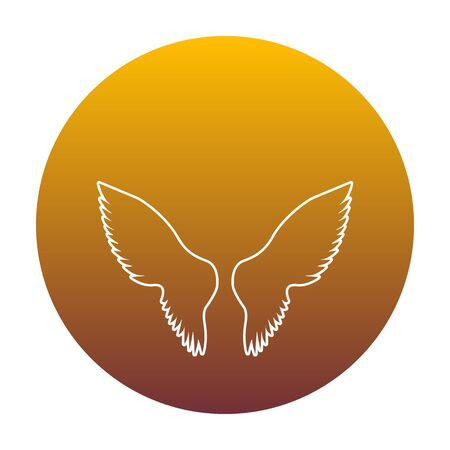 Wings sign illustration. White icon in circle with golden gradient as background. Isolated. Illustration