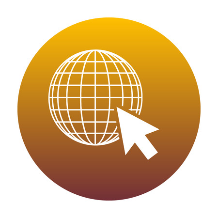 Earth Globe with cursor. White icon in circle with golden gradient as background. Isolated.