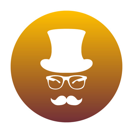 Hipster accessories design. White icon in circle with golden gradient as background. Isolated.