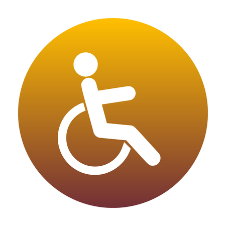 invalid: Disabled sign illustration. White icon in circle with golden gradient as background. Isolated. Illustration