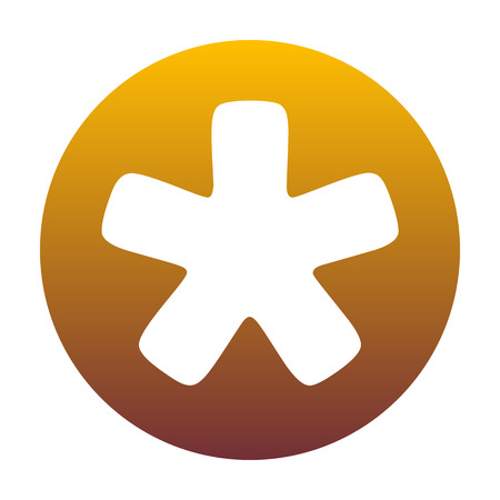 Asterisk star sign. White icon in circle with golden gradient as background. Isolated.