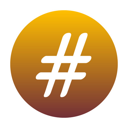Hashtag sign illustration. White icon in circle with golden gradient as background. Isolated.